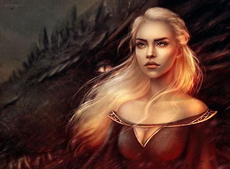 Фото Daenerys Targaryen / Дейенерис Таргариен, арт к сериалу Game of Thrones / Игра престолов, by Alrooney