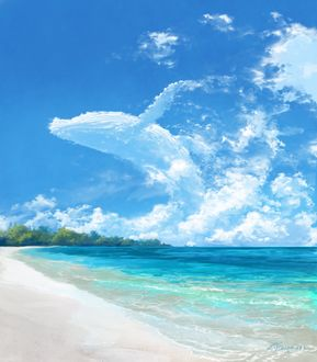 Фото Облачный кит в небе над морем