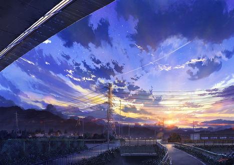 Фото Линии электропередач на фоне облачного неба, аrt by Niko P