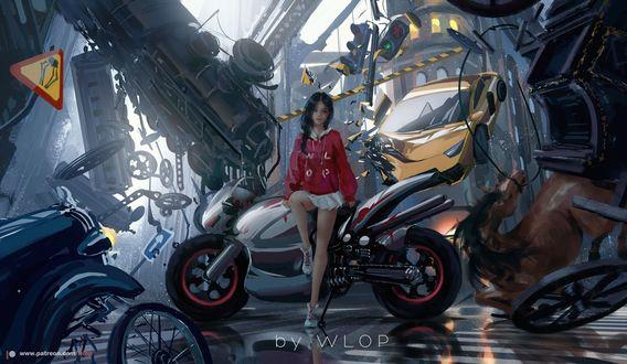 Фото Девушка в красной кофте сидит на мотоцикле, by wlop