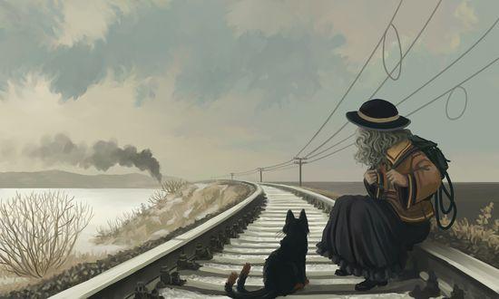 Фото Koishi Komeiji / Койши Комейдзи и черный кот сидят на рельсах и смотрят на приближающийся поезд из игры и аниме Проект «Восток» / Touhou Project