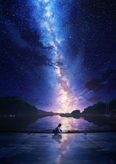 Фото Девушка сидит у водоема под ночным звездным небом, by mocha