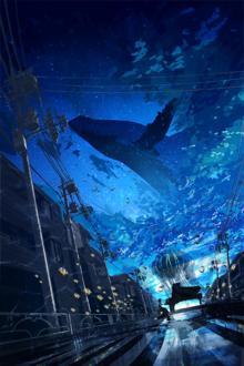 Фото Девушка сидит за роялем на улице города на фоне неба с проплывающим китом, by Chocoshi