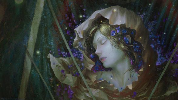 Фото Девушка с закрытыми глазами а окружении голубых цветов, by pav327