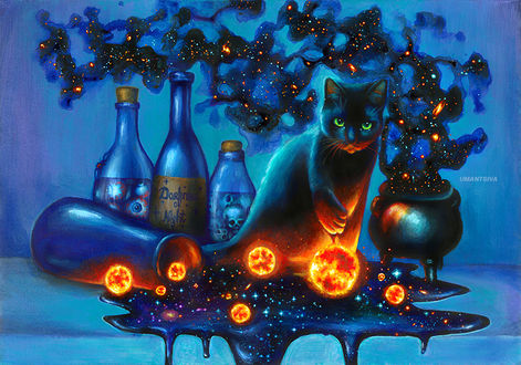 Фото Черная кошка сидит на столе возле опрокинутой вазы, из которой вытекает космос с огненными планетами, by umantsiva