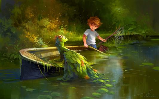 Фото Мальчик с сачком и ведром и водный дракончик смотрит друг на друга, by sandara