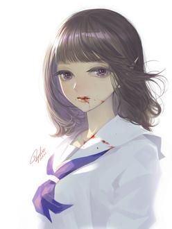 Фото Девушка-вампир с окровавленными губами, одетая в школьную форму, by YukieTAJIMA