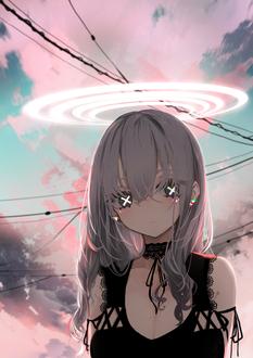 Фото Девушка с крестиками в глазах с нимбом над головой стоит на фоне облачного неба