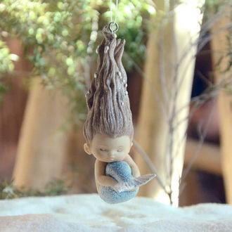 Фото Mermaid / Русалочка с закрытыми глазами, игрушка-подвеска для украшения домашнего аквариума