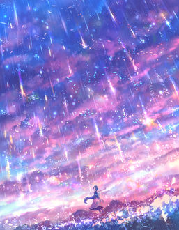 Фото Девушка под звездным дождем, by bounin
