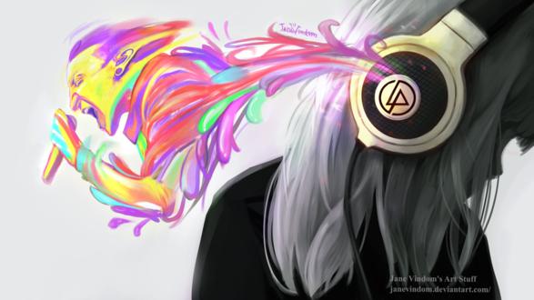 Фото Грустная девушка в наушниках слушает Linkin Park, by JaneVindom