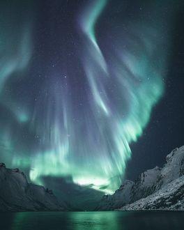 Фото Северное сияние над озером, Норвегия, by Vivian Ebeltoft Photography