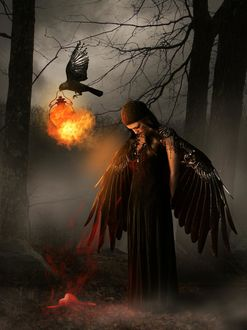Фото Девушка с крыльями ворона стоит среди деревьев, by KarinClaessonArt