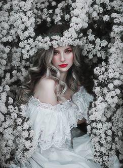 Фото Девушка в белом платье в окружении белых цветов. Фотограф Светлана Беляева