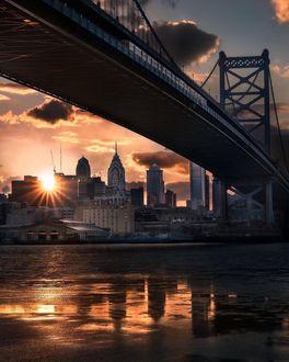 Фото Закат над городом, вид из под моста Бенджамина Франклина, by Ross Bellis Photography