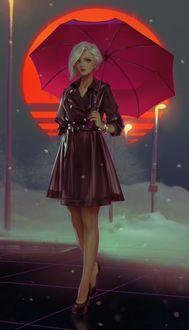 Фото Девушка в плаще с зонтом стоит на фоне солнца, by oyasumi75