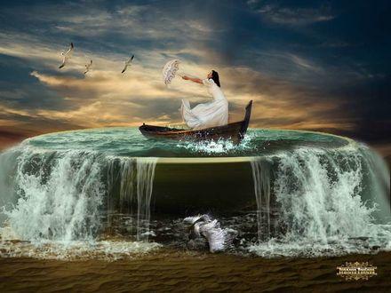 Фото Девушка в белом платье, с зонтом в руках, стоит в лодке во время шторма, by IPNatali