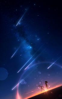 Фото Девушка стоит рядом с телескопом под падающими звездами в лучах закатного солнца