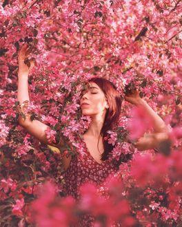 Фото Девушка стоит под весенним цветущим кустом, by mazurevanasta