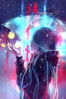 Фото Девушка стоит под зонтом, by YuumeiArt
