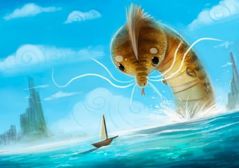 Фото Монстр в море, рядом плывет лодка, by Cryptid-Creations