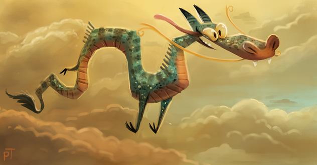Фото Летящий дракон в небе, by Cryptid-Creations