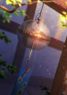 Фото В колокольчике отражается пейзаж во время заката, by mocha@