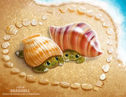 Фото Две черепашки под раковиной, внутри сердца из раковин на песке (Seashell), by Cryptid-Creations