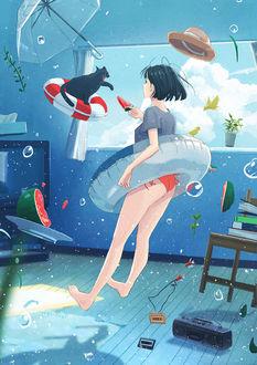 Фото Девушка и кошка под водой в комнате