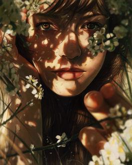Фото Девушка за весенними ветвями, by Arthur Henri
