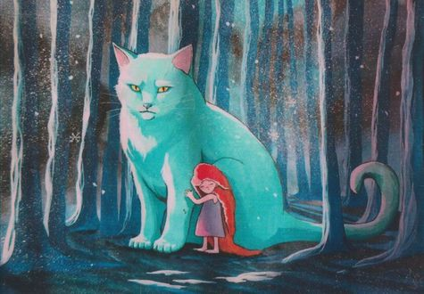 Фото Девочка стоит у большой голубой кошки