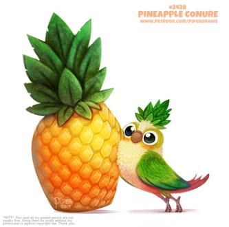 Фото Птичка рядом с ананасом (Pineapple Conure), by Cryptid-Creations