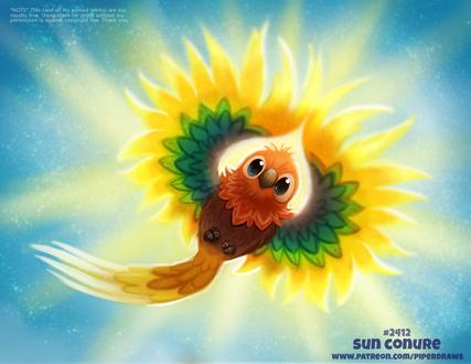 Фото Яркий попугай на небе (Sun Conure), by Cryptid-Creations