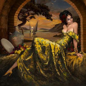 Фото Девушка в длинном платье сидит на постели, by Giorgos Tsolis