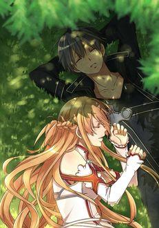 Фото Kirito / Кирито и Asuna / Асуна спят на траве в тени дерева из аниме Sword Art Online / Мастера Меча Онлайн