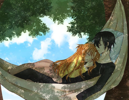 Фото Kirito / Кирито и Asuna / Асуна задремали в гамаке арт персонажей из аниме Sword Art Online / Мастера Меча Онлайн