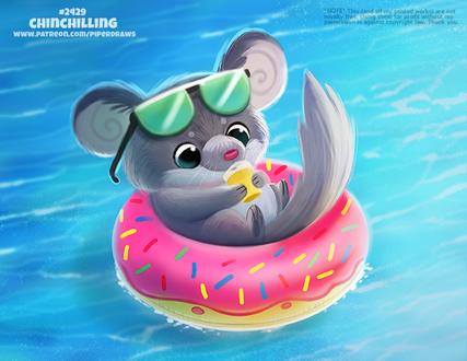 Фото Шиншилла на кругу в виде пончика в море (Chinchilling), by Cryptid-Creations