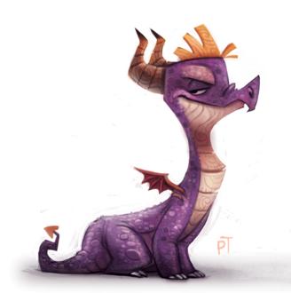 Фото Фиолетовый дракончик на белом фоне, by Cryptid-Creations