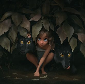 Фото Девочка с волками за листвой, by GnomonSchool