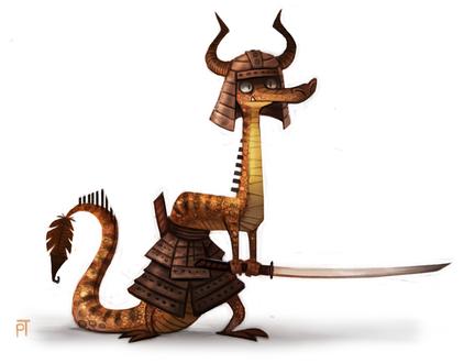 Фото Дракон в доспехах держит меч, by Cryptid-Creations