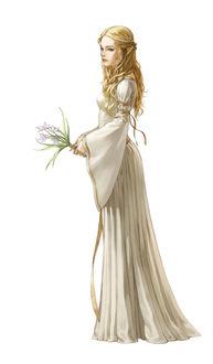 Фото Эльфийка в белом платье с цветком в руках, by Kim Sunhong
