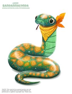Фото Зеленая анаконда с желтым платком (Bandannaconda), by Cryptid-Creations