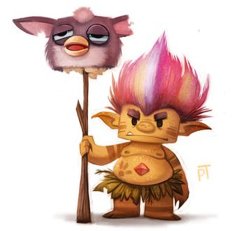Фото Тролль с головой Furby / Ферби на палке, by Cryptid-Creations