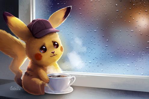 Фото Грустный Пикачу / Pikachu из фильма Покемон. Детектив Пикачу / Pokemon Detective Pikachu с чашкой горячего кофе сидит у окна, за которым идет дождь, by TsaoShin