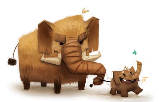 Фото Мамонтенок рядом с мамонтом, by Cryptid-Creations