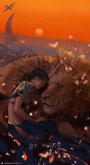 Фото Темноволосая девушка и лев, by wlop