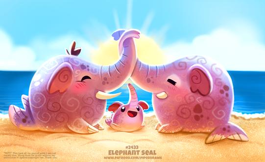 Фото Три морских слоника (Elephant Seal), by Cryptid-Creations