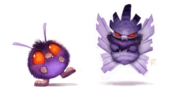 Фото Venonat / Венонат и Venomoth / Веномот из аниме Pokemon / Покемон, by Cryptid-Creations