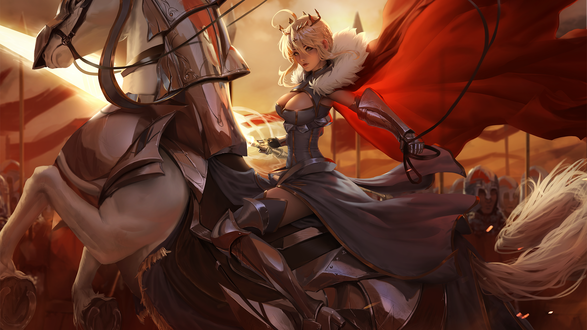 Фото Artoria Lancer из игры Fate / Grand Order / Судьба / Великий Порядок на лошади, by raikoart