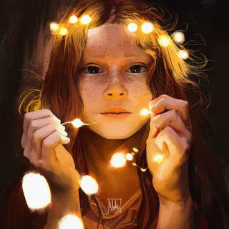 Фото Девочка держит в руках гирлянду с огоньками, by Nekuro3